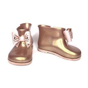 Mini Melissa Sugar Rain Boots Booties Rose Gold 8